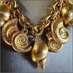 ANNE KLEIN Gold Sea Shell Charm Bracelet