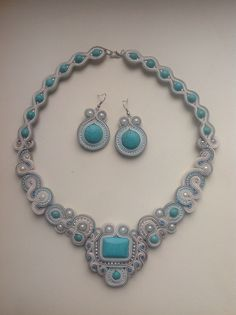 Soutache statement necklace and earrings with blue turquoise and pearls