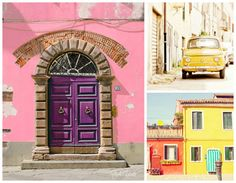 Italy Photo Set, Travel Photography, Colorful Home Decor, Burano, Old Door, Pink House, Set of 3 Prints, Collection, Wall Art, Fiat 500 / by Studio Yuki