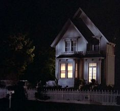 Angela Landsbury's 'Murder She Wrote' victorian house at night. Cabot Cove