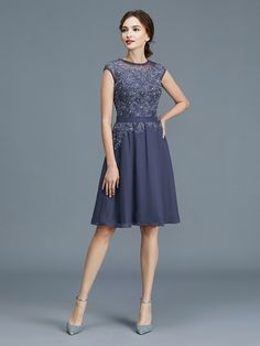 A-Line/Princess Scoop Chiffon Sleeveless Beading Knee-Length Mother of the Bride Dresses