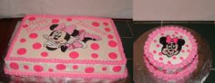 Minnie Mouse Sheet cake with Smash cake. Bright Pink