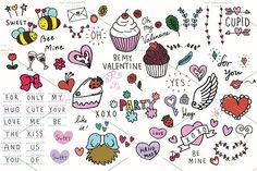 Hand-drawn Valentines Illustrations by Paperly Studio on @creativemarket