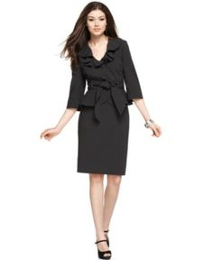 Nine West Suit, Three Quarter Sleeve Ruffled Belted Pinstripe Jacket & Skirt - Womens Suits & Suit Separates - Macy's