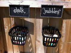 Organizing Outdoor Play - this is a good and simple idea. Drill holes in bottom of backets so rain water drains out.