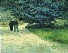 Public Garden with Couple and Blue Fir Tree  1888.  Vincent van Gogh