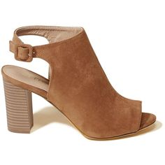 Hollister Madden Girl BECKKIE Heeled Sandal (€56) ❤ liked on Polyvore featuring shoes, sandals, brown, brown shoes, brown heeled sandals, heeled sandals, peep toe shoes and wedge sandals