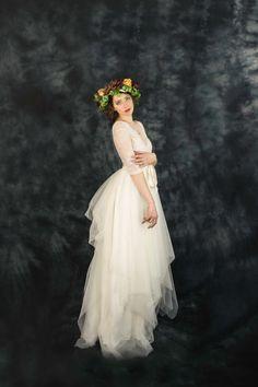 Ivory lace bohemian wedding dress boho wedding by ElaSiromascenko $1806