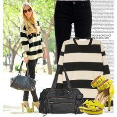 stripes and neon shoes
