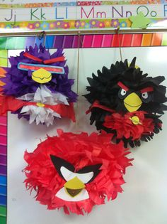ANGRY BIRDS SPACE TISSUE BALLS! Make tissue balls, and add construction paper to create faces. You could us this idea for a various themed birthday parties. Make ninja turtle faces by using green tissue and making masks from construction paper. Be creative! If you're terrible at drawing, use google to find templates of the details you want on your tissue ball. There are so many possibilities!