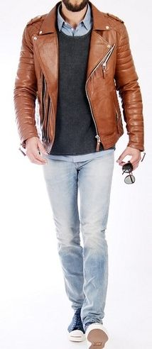 Men's brown leather biker jacket