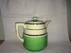 Hall Coffee Pot, Green and Ivory with silver bands, Hall's Superior Quality, Coffee Pot, Hall China