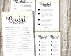 Items similar to PRINTABLE Personalized Bridal MAD LIBS - Bachelorette party games, bridal shower games, mad libs, lingerie mad libs, wedding mad libs on Etsy Bridal Shower Games, Bridal Shower Decorations, Bridal Shower Invitations, Bridal Showers, Bachlorette Party, Bachelorette Party Games, Wedding Mad Libs, Drinking Games For Parties, Wedding Weekend