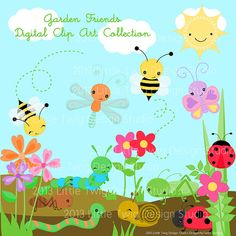 Garden Bug Friends Digital Clipart clip art by Dragonflytwist, $5.50