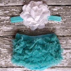 Baby Girl TuTu Bloomers Chiffon Ruffle Diaper Cover Aqua White Shabby Flower Headband Set Newborn Photography Prop 0 3 6 months on Etsy, $15.95