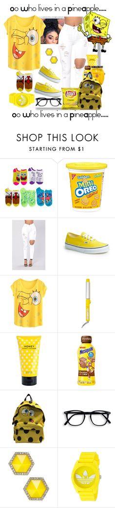 """SpongeBob Square Pants!!"" by dollz-n-donz ❤ liked on Polyvore featuring Vans, Drybar, Marc Jacobs, Moschino, ABS by Allen Schwartz and adidas"