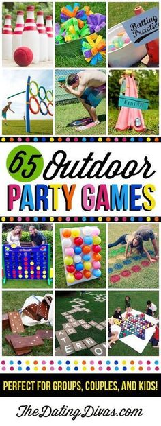 65 Outdoor Party Games - some of these would be great for a playground party! - - 65 Outdoor Party Games – some of these would be great for a playground party! 65 Outdoor Party Games – some of these would be great for a playground party! Fun Outdoor Games, Outdoor Parties, Outside Party Games, Family Outdoor Games, Outdoor Twister, Fun Party Games, Games For Parties, Outdoor Birthday Games, Easter Outdoor Games
