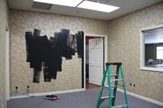 80's Party Room PSA - not a good idea to paint over wallpaper...you'll see why soon.