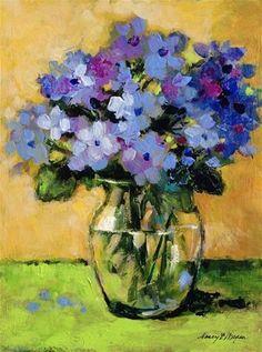 "Daily Paintworks - ""Hydrangeas With Green"" - Original Fine Art for Sale - © Nancy F. Morgan"