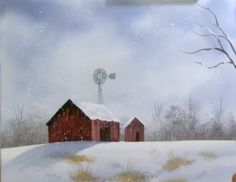 """December Barn (Part 1) from the set of Wilson Bickford'sTelevision show """"PAINTING WITH WILSON BICKFORD"""" In this first of two parts, Wilson shows you how to paint this lovely snowy scene complete with a rustic country barn."""
