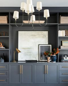 Home Office Space, Home Office Design, Home Office Decor, Home Decor, Office Cabinet Design, Dining Room Office, Home Office Lighting, Office Ideas, Built In Shelves Living Room