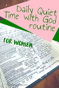 Daily quiet time with God routine for women Bible Study Plans, Bible Study Notebook, Bible Study Tips, Bible Study Journal, Scripture Study, Bible Lessons, Prayer Scriptures, Bible Prayers, Bible Verses