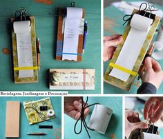Create your own grocery list notepad. I always see register tape rolls at the second hand store. Diy And Crafts, Crafts For Kids, Paper Crafts, Diy Gifts, Handmade Gifts, Craft Projects, Projects To Try, Second Hand Stores, Diy Hanging