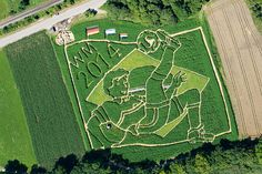 A-maze-ing! German farmers create World Cup themed labyrinth in honour of summer glory in Brazil Bae, Football Design, Pictures Of The Week, Aerial View, Baseball Field, World Cup, Brazil, City Photo, Places To Visit
