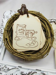 Baking Tags Christmas Paper Crafts Handmade by GoldenNestStudio