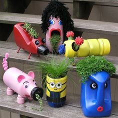 "Old Bottles, New Buddies: Cute Upcycled Planters for Kids Fun and Creative Container Gardening Ideas"", ""funny flower pots made with plastic bottles"" Fun Crafts, Crafts For Kids, Arts And Crafts, Kids Diy, Projects For Kids, Diy Projects, Garden Projects, Plastic Bottle Crafts, Plastic Bottle Planter"