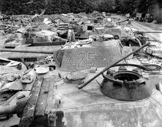Sump damaged German armor. Presented Pzkpfw V Panther tanks, Pzkpfw IV later series, armored personnel carriers. France, 1944