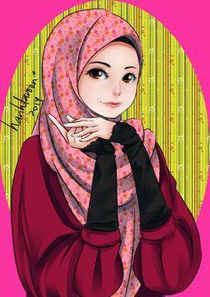 Ana Muslim fan art… tool: Paint tool sai ana muslim has a cute face plus cute pose … (>o<)/