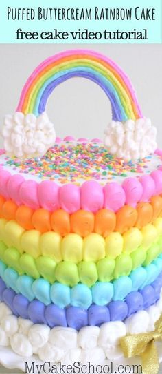 A rainbow cake is fun to look at and eat and a lot easier to make than you might think. Here's a step-by-step guide for how to make a rainbow birthday cake. Creative Cake Decorating, Cake Decorating Techniques, Cake Decorating Tutorials, Creative Cakes, Decorating Ideas, Cake Piping, Buttercream Cake, Buttercream Decorating, Cake Design Inspiration