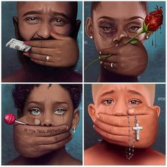 This isn't just a awesome artwork but a deep touching message. Money, Love, Threat & Religion have prevented alot of people from saying what they ought to be s Black Women Art, Black Art, Deco Disney, Satirical Illustrations, Dope Art, Black History, Female Art, Art Drawings, Street Art