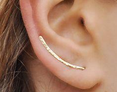 Ear Climbers Earrings x2 Ear Climber Gold Ear Pins by Benittamoko