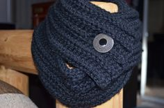 Classy Black Cowl with Antique Button by PineNeedlePrimitives, $19.00