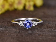 5mm Round VS natural Tanzanite engagement ringSI-H diamond