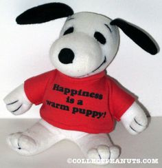 I remember loving to look at the racks and racks of tiny t-shirts! Snoopy wearing 'Happiness is a warm puppy' t-shirt Plush