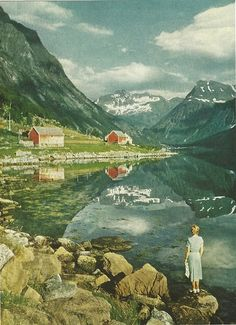 vintagenatgeographic:    Norang Fjord in Norway.  National Geographic | January 1957