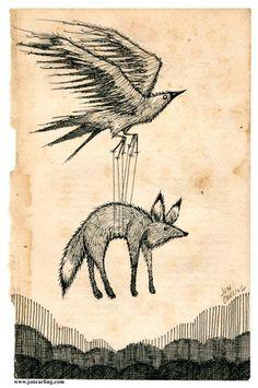 art, bird, drawing, fox, john carling