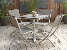 **** Scandinavian Designs - Outdoor Furniture - Metal Folding Chair/GY. Go with big table. In addition to, or instead of the chairs with arms.  $71 on sale.