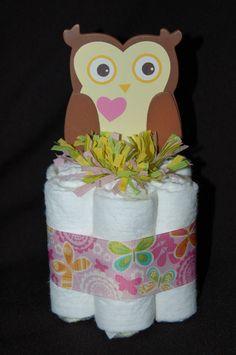 baby owl shower tableware   Mini Diaper Cake DENA HAPPI TREE Owl Girls Nursery Decor Baby Shower