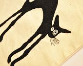 Black cat accessory, 100% cotton draw sting bag, Perfect for keeping laundry, shoes, toys, accessories in. Also would make perfect trick or treat bag:D by NobiasArt