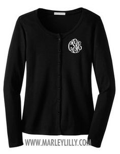 Monogrammed Ladies Cardigan (Black w/ White lettering or white with silver or gold lettering, size XS, JBM)