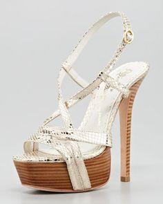 Alice + Olivia Leia Metallic Platform Sandal - Neiman Marcus
