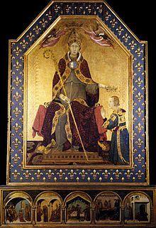 Simone Martini , San Ludovico di Tolosa che incorona il fratello Roberto d'Angiò, tempera su tavola, 138x200 cm, dalla Basilica di san Lorenzo Maggiore, Napoli, Museo di Capodimonte