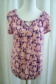 Old Navy Top Blouse Shirt M Purple Cream Orange Floral Elastic Bottom  #OldNavy #Blouse