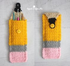 Crochet pouch tutorial shaped like a pencil with a button closure. Cute for storing pens, pencils, crochet hooks, etc. Would be easy to just carry in your bag.