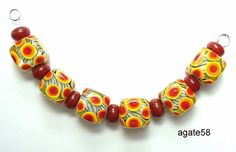 Bright Spring Cubes Orange Red Dot Handmade Lampwork by agate58, $22.00