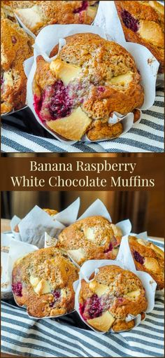 Banana Raspberry White Chocolate Muffins - a banana muffin base recipe that's bursting with pockets of tart raspberry and sweet white chocolate. An outstanding flavour combination.